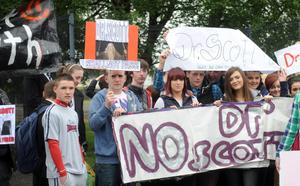 Pacemaker Press 6/6/2012 Crumlin Integrated College ProtestPupils , Past Pupils and Parents Protest outside Crumlin Integrated College in Co Antrim as Dr Annabel Scott, returns to the school after previously being  removed from the school following the publication of a hard-hitting Education and Training Inspectorate (ETI) report.  Poor teaching standards, exam results below the Northern Ireland average, inadequate special needs provision, serious shortcomings in pastoral care and major deficiencies in management were all uncovered during an inspection at the school Pic Colm Lenaghan Pacemaker
