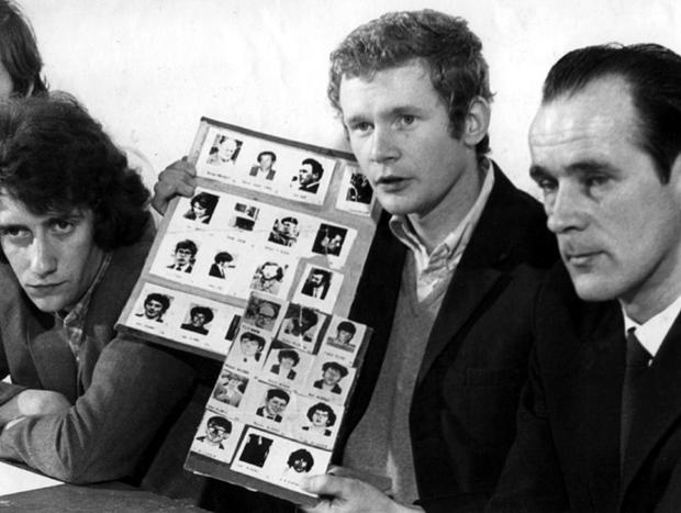Martin McGuinness  in Derry's Bogside at a  press conference. 1971