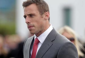 Ulster player Tommy Bowe pictured at the funeral