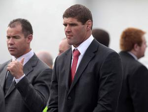 Ulster captain Johann Muller pictured at the funeral.