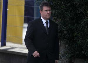 The DUP's Jeffrey Donaldson arrives at the funeral