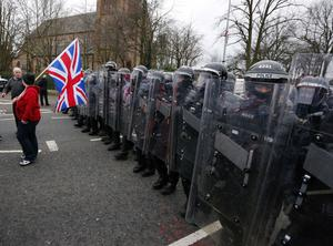 PSNI officers on the Lower Newtownards t