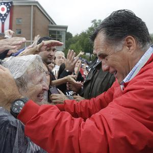 Republican presidential candidate Mitt Romney campaigns at Lake Erie College in Painesville, Ohio (AP/Charles Dharapak)