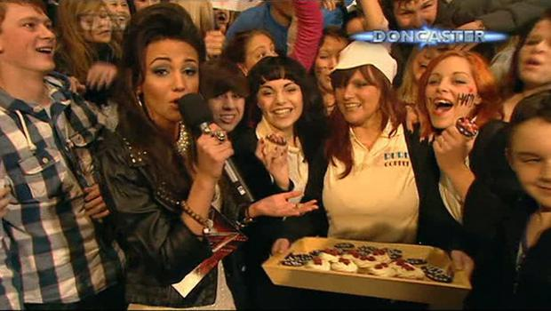 X Factor 2010 Final - One DirectionOne Direction fans with Corris star Michelle Keegan