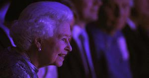 The Queen watches a fashion show at the National Convention Centre on May 19, 2011 in Dublin, Ireland.