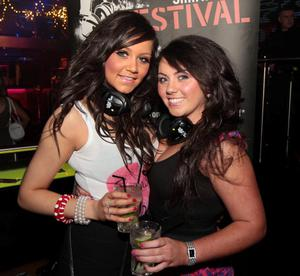Sarah Lappin and Aichlinn Trainor at the 'Smirnoff Be There' Silent Disco in the Bank, Newry.