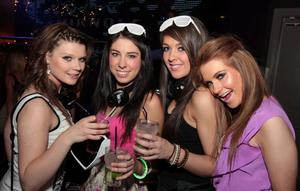 Sandra Petrosuite, Jessica McShane, Kay Sloan and Stephanie Carroll at the 'Smirnoff Be There' Silent Disco in the Bank, Newry.