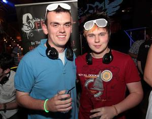 Conor Fearon and Donal Fullerton at the 'Smirnoff Be There' Silent Disco in the Bank, Newry.