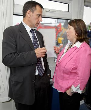 Cormac McKervey, Ulster Bank, discusses the agricultural economy with Farm Minister Michelle Gildernew during a visit to Balmoral Show on Thursday afternoon