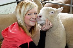 Elaine Hunter, Ballymoney, with her Polled Dorset sheep