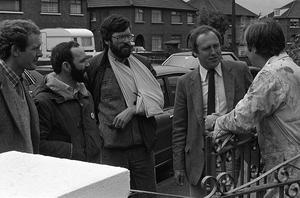 Sinn Fein leader Gerry Adams pictured canvassing with Martin McGuinness, Alex Maskey and Danny Morrison shortly after he was shot and injured in a UDA gun attack in Belfast city centre.