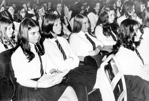 Prize Distribution. The girls of M.C.B. listen to the guest speaker Lord Dunleath at Sir William Whitla Hall, Queen's University, Belfast.