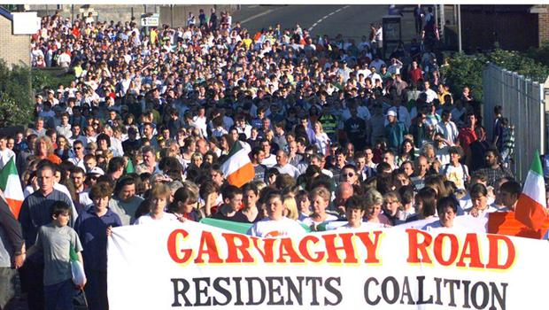 Nationalist protesters walk to Garvaghy Road July 1997. Residents Coalition in Drumcree Portadown to voice their anger at Loyalist Parades through their area