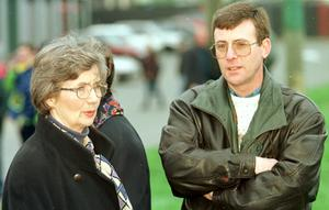 Nationalist Protest March At Garvaghy Road March 1998. Brid Rodgers and Brendan McKenna in attendance at Garvaghy Road demonstration, Portadown