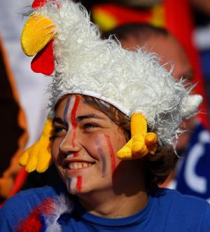 WELLINGTON, NEW ZEALAND - OCTOBER 01:  A France fan cheers on her team during the IRB 2011 Rugby World Cup Pool A match between France and Tonga at Wellington Regional Stadium on October 1, 2011 in Wellington, New Zealand.  (Photo by Alex Livesey/Getty Images)