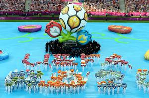 WARSAW, POLAND - JUNE 08:  Dancers perform during the opening ceremony ahead of the UEFA EURO 2012 group A match between Poland and Greece at The National Stadium on June 8, 2012 in Warsaw, Poland.  (Photo by Shaun Botterill/Getty Images)