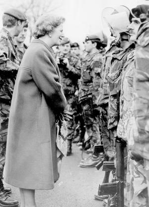 PM Margaret Thatcher meets the troops on a one day visit to Ulster 23/12/1986