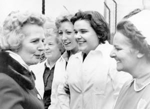 Margaret Thatcher chats with nurses from the military wing at Musgrave Hospital on 14/11/1975