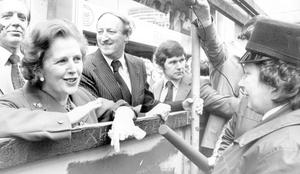 Margaret Thatcher chats to a security lady on duty at Donegall Place Belfast 28/05/1981