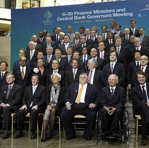 G20 finance ministers and central bank governors pose for a group photo after their meeting in Washington (AP)
