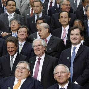 Bank of England Governor Sir Mervyn King and Chancellor George Osborne were among the finance chiefs who held talks over IMF funding (AP)