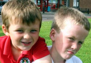 Rhys Steele and Charlie Campbell, who found a bag containing drugs at a green on the Hazelbank Road in Coleraine