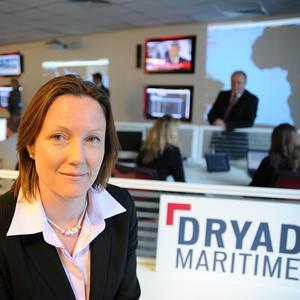 Chief operating officer Karen Jacques at the new anti-piracy centre in Portsmouth (Dryad Maritime)