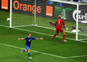 KIEV, UKRAINE - JUNE 24:  Alessandro Diamanti of Italy celebrates scoring the winning penalty during the UEFA EURO 2012 quarter final match between England and Italy at The Olympic Stadium on June 24, 2012 in Kiev, Ukraine.  (Photo by Christopher Lee/Getty Images)
