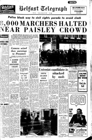 "Belfast Telegraph. Page One. 30/11/1968.  ""8,000 Marchers halted near Paisley crowd"""