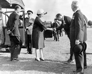 The Queen, Elizabeth 11. 1966 visit.On arrival at Balmoral, the Queen is greeted by Prime Minister, Captain Terence O'Neill.  5/7/1966