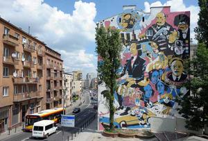 Street art: A mural celebrating the 200th anniversary of the birth of Polish composer Chopin