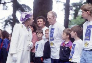 The Queen, Elizabeth 11. 1991 visit.The Queen chats to local people during the garden party at Hillsborough. June 1991.