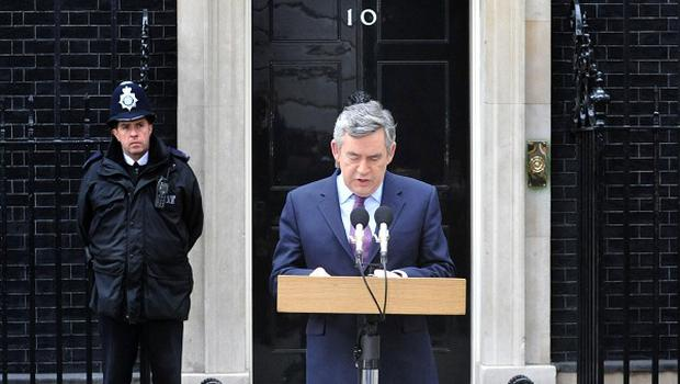 Prime Minister Gordon Brown gives a statement outside 10 Downing Street