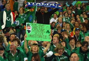 DUNEDIN, NEW ZEALAND - OCTOBER 02:  A lone Italian fan enjoys the atmosphere ahead of the IRB Rugby World Cup Pool C match between Ireland and Italy at Dunedin Stadium on October 2, 2011 in Dunedin, New Zealand.  (Photo by Warren Little/Getty Images)