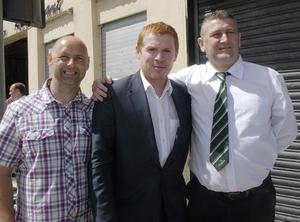 Celtic manager Neil Lennon meets Peter Bunting, left, and Bary McAreavey, committee member Lurgan Celtic Supporters Club