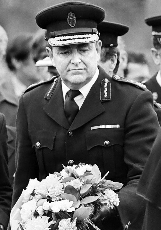 Sir John Hermon, the former Chief Constable of the RUC at the funeral of the RUC's 100th victim of the Troubles, Constable Neill Quinn. Newry  22/6/1081
