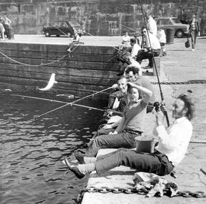 Trevor Larmour, from Lisburn, makes sure this one doesn't get away.  It may only be what the locals call a blocken but the catch brought delight to these fishermen at Ardglass. 31/7/1972