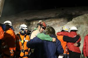 Florencio Avalos, 31, becomes the first miner to exit the rescue capsule at the San Jose mine near Copiapo, Chile