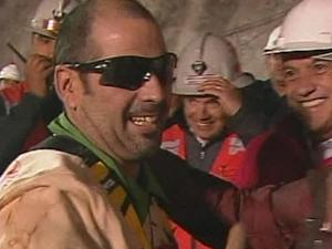 In this screen grab taken from video, Mario Sepulveda Espina, the second miner to be rescued, celebrates  at San Jose Mine near Copiapo, Chile. (AP Photo)
