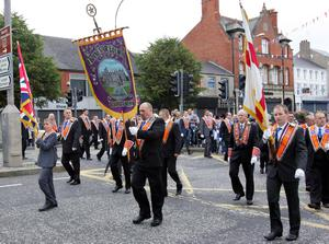 Boyne Star LOL 16 on the march during the Twelfth through Lurgan. Picture By Rick Hewitt. 12/7/11.