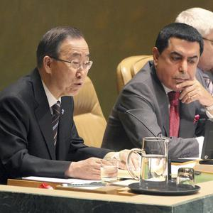 UN secretary-general Ban Ki-moon, left, addresses the UN General Assembly on the situation in Syria (AP)