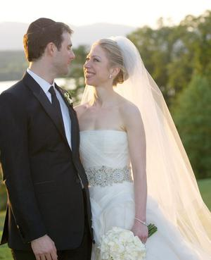 Chelsea Clinton and Marc Mezvinsky are seen during their wedding, Saturday, July 31, 2010