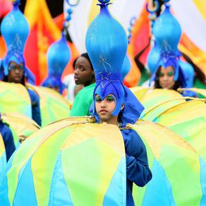Dancers take part in the parade at the annual Notting Hill Carnival
