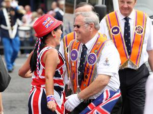 12/7/11 Mandatory Credit Darren Kidd/Presseye.com Orangemen take part in Twelfth of July parades as they make their way to the field at Shaws Bridge, Belfast.The parade makes its way along the Lisburn Rd,   LOL 821