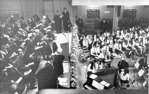 The scene in the Sir William Whitla Hall, Queens University where Methodist College Belfast held their annual Prize Distribution Day. Mr. J.M. Benn (Commissioner for Complaints and Former Permanent Sec. to the Ministry of Education, Northern Ireland) presented the prizes, 1971.