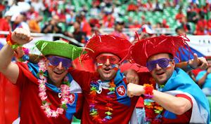 WROCLAW, POLAND - JUNE 12: Football fans soak up the atmosphere during the UEFA EURO 2012 group A match between Greece and Czech Republic at The Municipal Stadium on June 12, 2012 in Wroclaw, Poland  (Photo by Clive Mason/Getty Images)