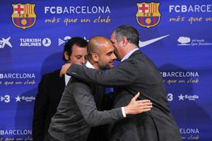 BARCELONA, SPAIN - APRIL 27:  Sport director of FC Barcelona, Andorni Zubizarreta, hugs Head coach Josep Guardiola of FC Barcelona during the press conference at the Camp Nou stadium on April 27, 2012 in Barcelona, Spain. Josep Guardiola has today announced he is not renewing his contract, after four years tenure as Head Coach of the FC Barcelona squad.  (Photo by David Ramos/Getty Images)