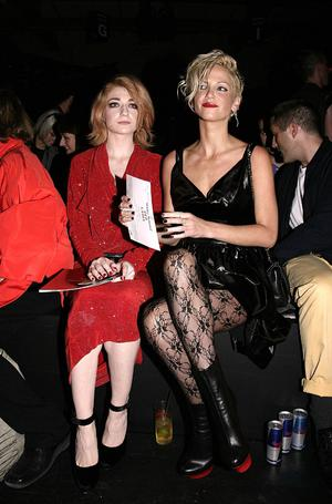 Nicola Roberts (left) and Sarah Harding of Girls Aloud at the Vivienne Westwood Red Label Catwalk show