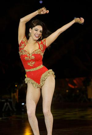 16.02.10. Picture by David Fitzgerald. Strictly Come Dancing Live tour at the Odyssey Arena last night. Kelly Brook dancing