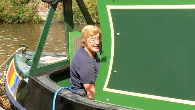 Daphne Trimble relaxing on the narrow boat